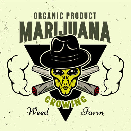 Alien green head in hat and two crossed weed joints with smoke vector emblem, badge, label  for marijuana growing company in colorful style isolated on light background