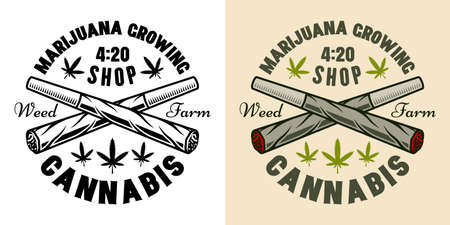 Two crossed weed joints vector emblem, badge, label  for marijuana growing company. Illustration in two styles black on white and colorful Çizim