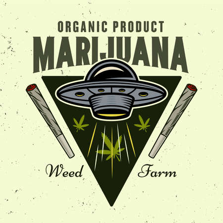 Ufo stealing marijuana leaves vector emblem, badge, label   for cannabis growing company in colorful style isolated on light background Çizim