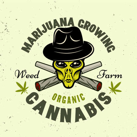 Alien green head in hat and two crossed weed joints vector emblem, badge, label for marijuana growing company. Illustration in colorful style isolated on light background