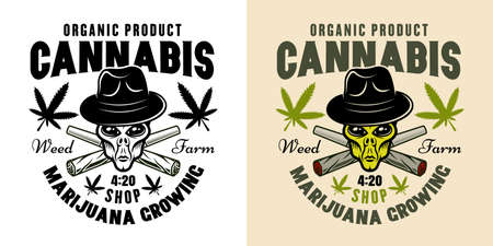 Alien head in hat and two crossed weed joints vector emblem, badge, label for marijuana growing company in two styles black on white and colorful