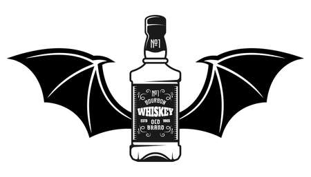 Whiskey bottle with bat wings vector illustration in vintage monochrome style isolated on white background Çizim