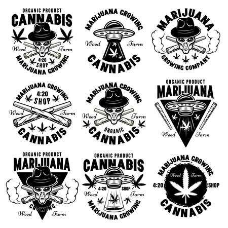 Marijuana growing set of nine vector emblems, badges, labels with aliens and ufo. Illustration in vintage monochrome style isolated on white background