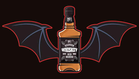 Whiskey bottle with bat wings colorful vector illustration in cartoon style isolated on dark background Çizim