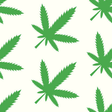 Marijuana green leaf vector seamless colored pattern on light background for decorated clothes or package and other things Çizim
