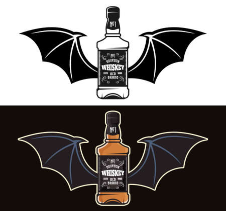 Whiskey bottle with bat wings two styles black on white and colorful on dark background vector illustration Çizim