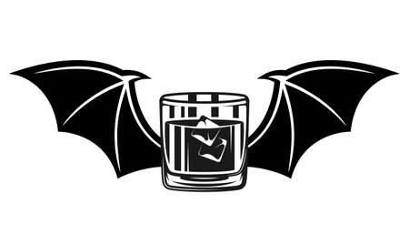 Whiskey glass with ice and bat wings vector illustration in vintage monochrome style isolated on white background
