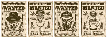 Wanted set of four vector vintage colored posters with gangster skulls and mobsters