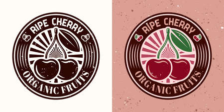 Cherry vector round emblem, badge, label or logo two styles monochrome and colored with removable textures