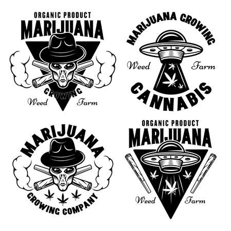 Marijuana growing set of four vector emblems, badges, labels or logos with aliens and ufo. Illustration in vintage monochrome style isolated on white background