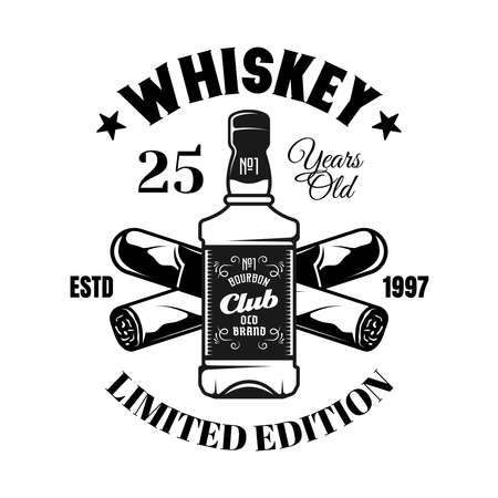 Whiskey bottle and crossed cigars vector emblem, badge, label in vintage monochrome style isolated on white background
