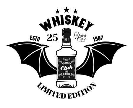 Whiskey bottle with bat wings vector emblem, badge, label in vintage monochrome style isolated on white background