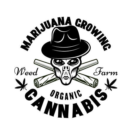 Alien head in hat and two crossed weed joints vector emblem, badge, label or logo for marijuana growing company. Illustration in vintage monochrome style isolated on white background Ilustracja