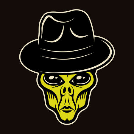 Alien head in fedora hat character colorful vector illustration in cartoon style isolated on dark background