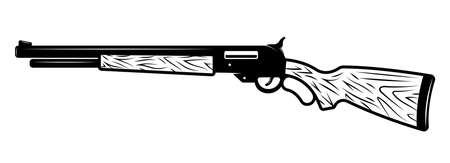 Gun rifle vector Illustration in detailed monochrome style isolated on white background