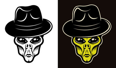 Alien head in fedora hat two styles black on white and colorful on dark background vector illustration Ilustracja