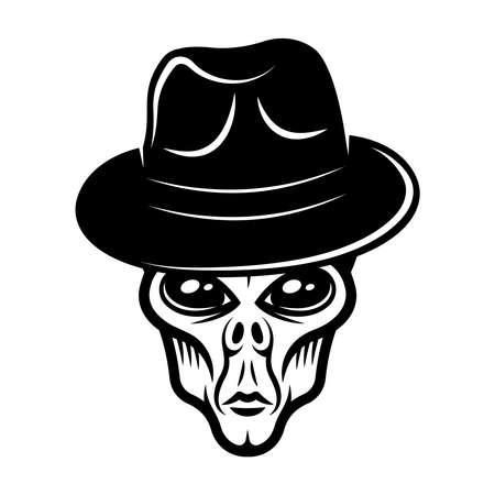 Alien head in fedora hat vector illustration in vintage monochrome style isolated on white background