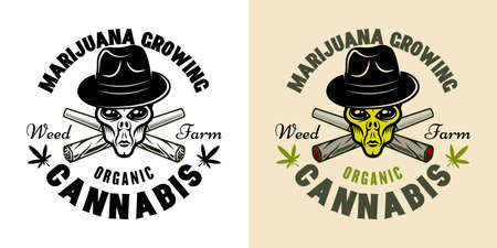 Alien head in hat and two crossed weed joints vector emblem, badge, label or marijuana growing company. Illustration in two styles black on white and colorful