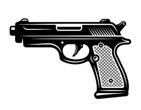 Pistol gun vector Illustration in detailed monochrome style isolated on white background