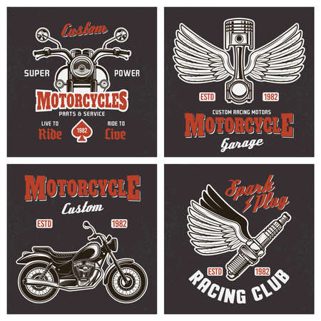 Motorcycle set of four vector colored t-shirt prints or emblems in vintage style on dark background