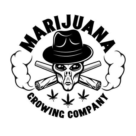 Alien head in hat and two crossed weed joints vector round emblem, badge, label for marijuana growing company. Illustration in vintage monochrome style isolated on white background