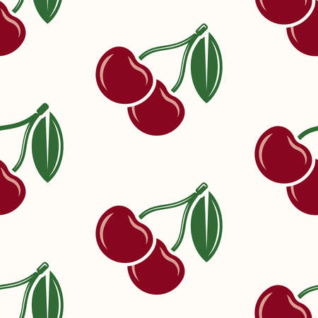 Cherry fruit vector seamless colored pattern on light background for decorated clothes or package and other things Ilustracja