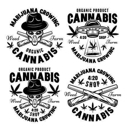 Marijuana growing set of four vector emblems, badges, labels or logos. Illustration in vintage monochrome style isolated on white background