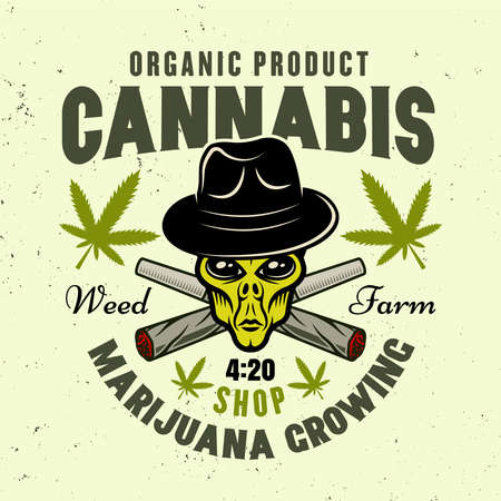 Alien green head in hat and two crossed weed joints vector emblem, badge, label or logo for marijuana growing company in colorful style isolated on light background