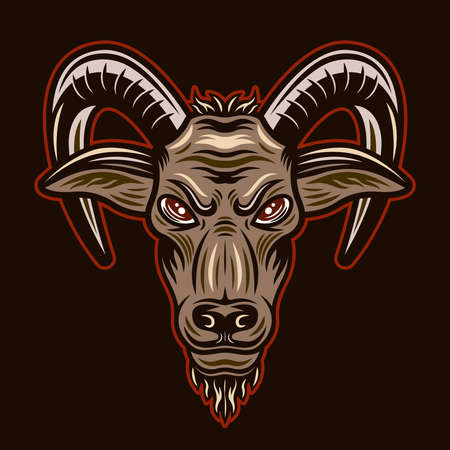 Goat head vector illustration in colorful cartoon style isolated on dark background Ilustracja