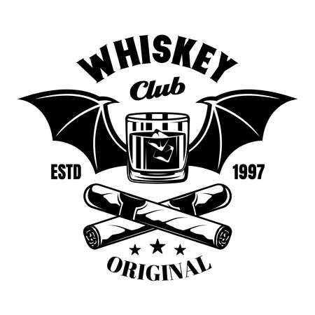 Whiskey glass with bat wings and crossed cigars vector emblem, badge, label or vintage monochrome style isolated on white background