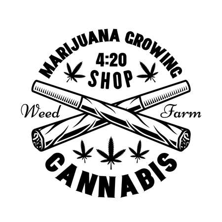 Two crossed weed joints vector emblem, badge, label  for marijuana growing company. Illustration in vintage monochrome style isolated on white background