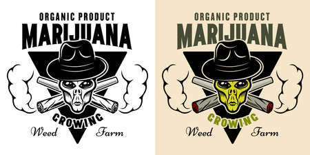 Alien head in hat and two crossed weed joints with smoke vector emblem, badge, label for marijuana growing company in two styles black on white and colorful