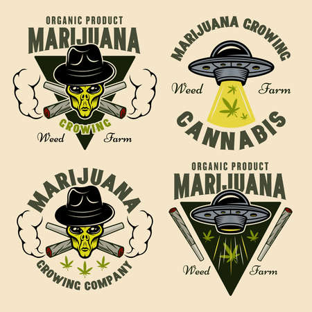 Marijuana growing set of four vector emblems, badges, labels or  aliens and ufo. Illustration in colorful style isolated on light background