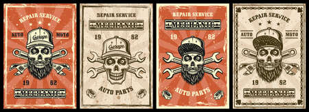 Mechanic repair garage set of four vector posters in vintage style with skulls and tools