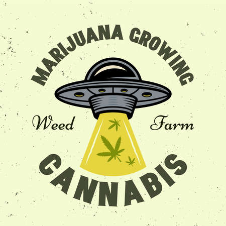 Ufo stealing marijuana leaves vector emblem, badge, label in colorful style isolated on light background