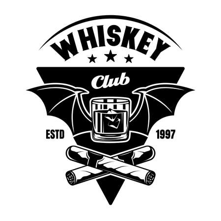 Whiskey club vector emblem, badge, label in vintage monochrome style isolated on white background Ilustracja