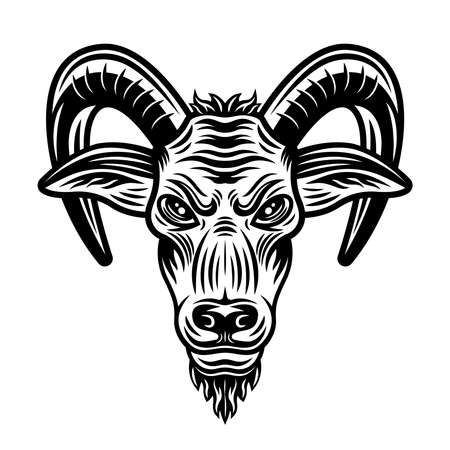 Goat head vector illustration in vintage monochrome style isolated on white background