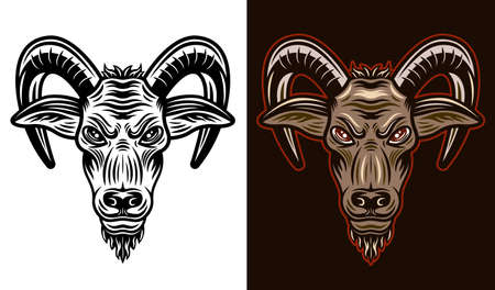 Horned goat head two styles black on white and colorful on dark background vector illustration Ilustracja