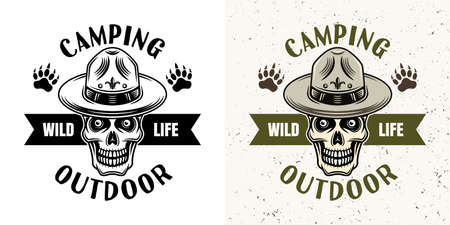 Camping emblem with skull of scout in two styles monochrome and colored vector illustration