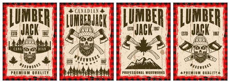 Lumberjack set of four vector posters in vintage style with bearded skull and axes Ilustracja