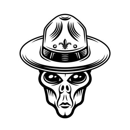 Alien head in sombrero hat vector illustration in vintage monochrome style isolated on white background Ilustracja