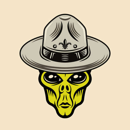 Alien head in sombrero hat character colorful vector illustration in cartoon style isolated on light background