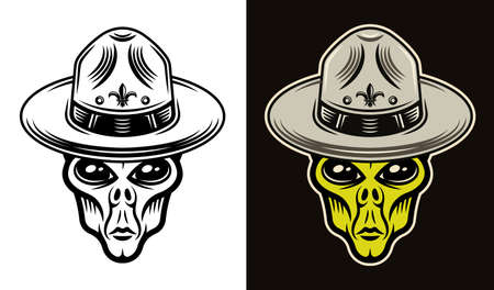 Alien head in mexican sombrero hat two styles black on white and colorful on dark background vector illustration