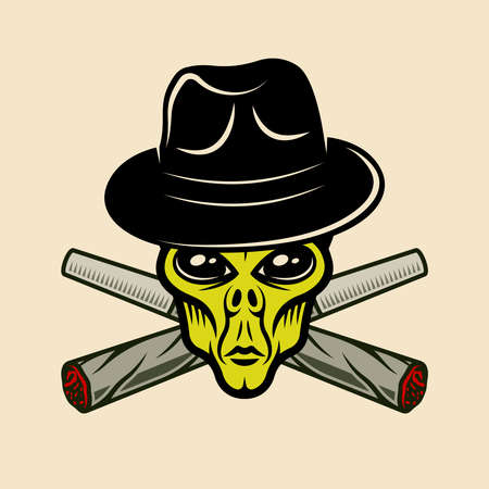 Alien head in fedora hat and two crossed weed joints vector illustration in vintage colorful style on light background Ilustracja