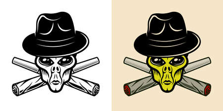 Alien head in fedora hat and two crossed weed joints in two styles black and white and colorful vector illustration