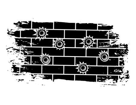 Bullet holes on brick wall vector illustration in monochrome style isolated on white background