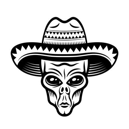 Alien head in sombrero hat vector illustration in monochrome vintage style isolated on white background