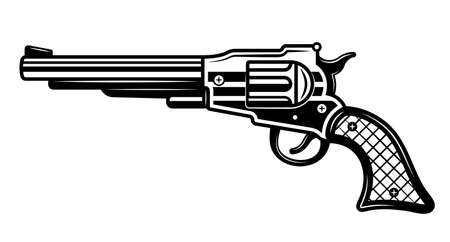 Western pistol or revolver vector Illustration in detailed monochrome style isolated on white background