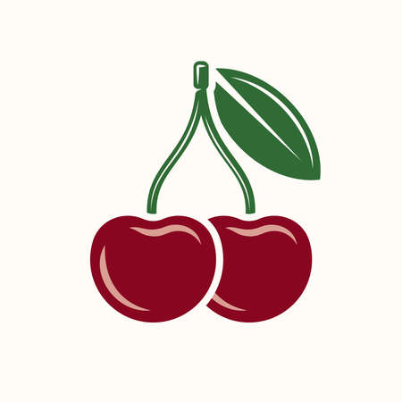 Red cherry fruit colored vector icon or graphic object isolated on white background Ilustracja