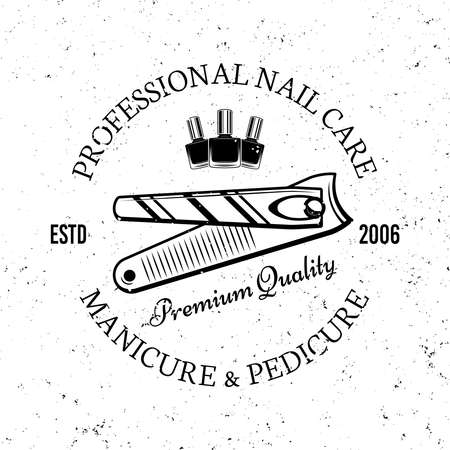 Manicure salon vector monochrome emblem, label, badge   with nail nippers tool isolated on white background